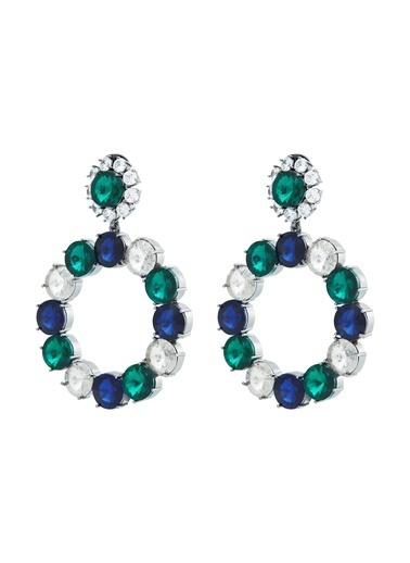Ninon Ninon Loulou Emerald, Sapphire & Diamond Kristal Küpe Yeşil